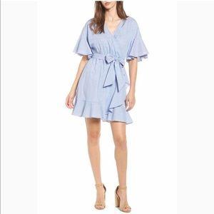 Soprano Blue White Ruffle Stripe Wrap Dress Large